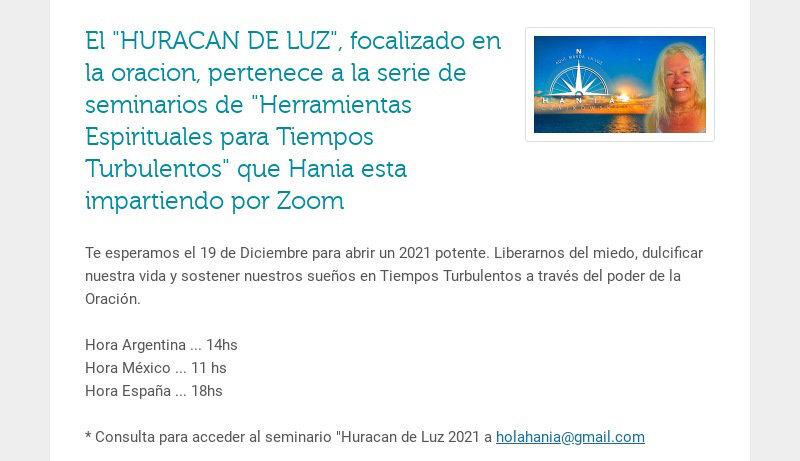 """El """"HURACAN DE LUZ"""", focalizado en la oracion, pertenece a la serie de seminarios de..."""